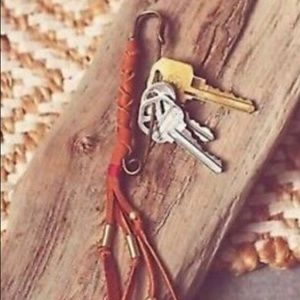 Free People large safety pin leather key chain